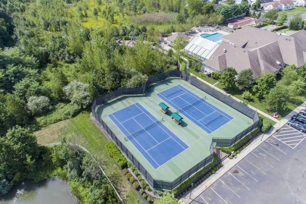 Tennis court overview of Renaissance at Monroe